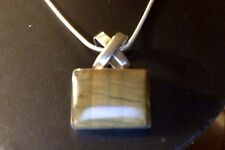 """Taxco Tiger's Eye Sterling Rectangle Pendant & Chain17"""" TW=21.5 g 925"""