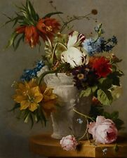 "Georgius van Os : ""An Arrangement with Flowers"" (1800s) — Giclee Fine Art Print"