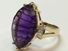 14k GOLD Ring Natural 0.50ct Diamond MQ Syn Amythyst Estate Vintage Gem Stone