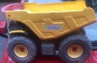 TONKA Big Yellow Metal Dump Truck Red Handle Push Toy Vintage Hasbro Large