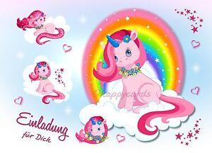 8 Einladungskarten Einhorn Pferd Geburtstag Kinder Kindergeburtstag Einladungen