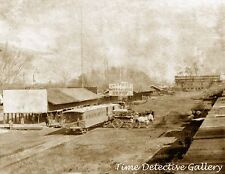 View of Front St & Central Pacific RR Depot, Sacto, CA-1866-Historic Photo Print