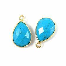 Bezel Gemstone Pendant-Vermeil- Turquoise-Small Teardrop- 10x14mm  (2pcs)