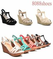 Women's Open Toe T-Strap Strappy Wedge Platform Sandal Shoes Size 5 - 10 NEW
