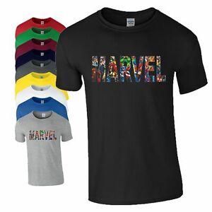 MARVEL T-Shirt Avengers Captain America Ironman Birthday Xmas Gift Mens Kids Top