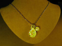 MARIANA NECKLACE SWAROVSKI CRYSTALS YELLOW PEAR PENDANT GOLD PL Long Chain Gift