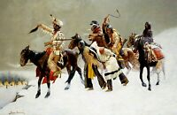 Return of a Blackfoot War Party. Indians Repro choose Canvas or Paper