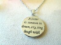 NEW Necklace Sister Love Message Women Silver Tone Jewelry US Seller