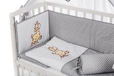 8-teilig Baby Bettwäsche 90x40 Bettausstattung für Beistellbett Giraffe in Grau