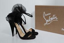 New sz 5 / 35.5 Christian Louboutin Jacqueline Black Suede Open Toe Sandal Shoes