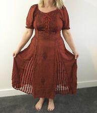 Rojo Corsé Medieval Renacimiento pagano Larga Vestido Talla Grande UK 12 14 16