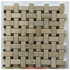 Honed Travertine Basket Weave Kitchen Mosaic Border Tile Bathroom