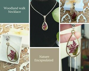 Woodland walk resin and real leaf necklace. Birthday gift for her. Gift boxed.
