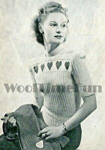 Knitting Pattern Vintage 1940s Ladies Twin Set/Jumper/Cardigan  Hearts/Fair Isle
