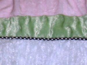 """Kids Line Velour & Chenille Crib Skirt ~ Drop 14"""" ~ Pink White Green"""