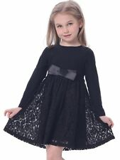 Bonny Billy Girl's Casual Satin Lace Dress With Bow Black 4-5 Years Party Pretty
