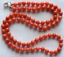 """16.5"""" Vintage Salmon Red Coral 4.2mm Round Bead Necklace-Sterling Silver Clasp"""