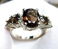 Rauchquarz Ring 925 Silber Gr 16,8 (53) fac. Steine prunkvolles DESIGN UNIKAT