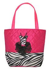Girls Hot Pink & Black Quilted Zebra Tutu Dance Tote Bag New