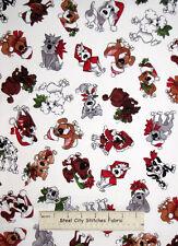 Loralie Harris Doggie Holiday White Christmas Puppy Dog Toss Cotton Fabric YARD