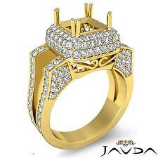 3 Row Halo Diamond Engagement Ring Princess Semi Mount 14k Yellow Gold 1.75Ct