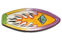"Clay Art Tropical Hawaiian Flames Snack Boat Serving Dish Dip Bowl 9 3/4"" Long"