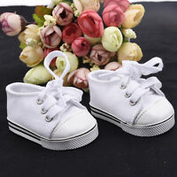 Handmade Canvas White Shoes for 18 inch Doll Cute Baby Kids Toy