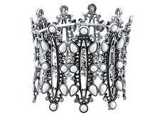 Silver Tone Retro European Cuff Bangle Bracelet