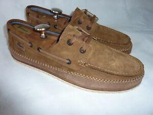 Men's Lacoste Sauville SRM Deck Shoes Brown Suede Leather up Boat Shoe UK 9 43