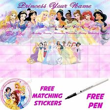Disney princess A3 personnalisé réutilisable reward chart & princesse autocollants & stylo