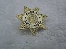 24kt GOLD PLATED and ENAMEL STATE OF HAWAII SHERIFF LAPEL PIN BADGE 1 INCH SIZE