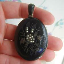 Antique Victorian Black Enamel & Seed Pearl Austro Hungarian Mourning Locket A/F