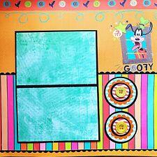 Handmade Goofy Cartoon Disneyland Vacation 12x12  Premade Scrapbook Layout Page