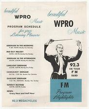 1960s WPRO-FM 92.3 PROVIDENCE RHODE ISLAND FM Radio PROGRAM SCHEDULE RI