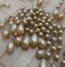 120 vintage 2.75 glass simulated pearl linked bead necklace extenders Japan
