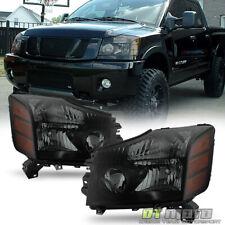 Black Smoked 2004-2015 Titan 04-07 Armada Headlights Headlamps Set Left+Right