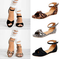 Womens Ankle Strap Leopard Snake Print Sandals Open Toe Buckle Flats Shoes Size