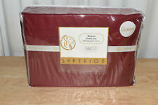 100% Egyptian Cotton 650 Thread Count, Queen 4-Piece Sheet Set-Burgundy