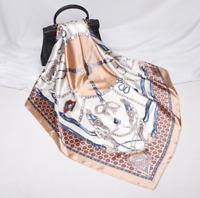 Glanz Seidentuch Halstuch Gold Seide 90x90cm Tuch für Damen Frauen Klassik N38