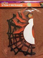 GIGANTE Halloween Spaventoso 3D SPIDER & WEB da appendere decorazione, 18 x 15 POLLICI, NUOVO