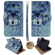 For LG Optimus G Pro E980 Am Wallet Snow Wolf Split Leather Case Cover