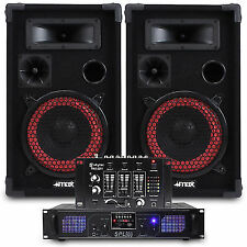 "2x Skytec 8"" PA Party Speakers DJ Mixer Amplifier System 500w"