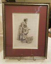 Vintage Gemuse Frau Paul Geissler Original Signed Etchings ca. 1928 Framed