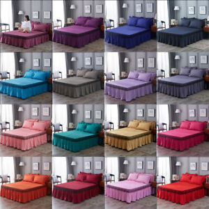 Solid color Bed Skirt Fitted Sheet Bedspread Dust Ruffle Drop Cover 16 Color