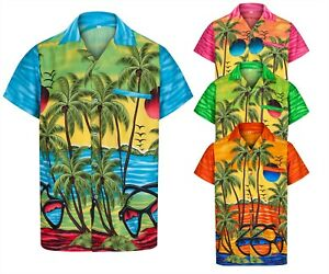 MENS HAWAIIAN SHIRT SUNGLASSES BRIGHT STAG BEACH HOLIDAY SUMMER LOUD FANCY DRESS