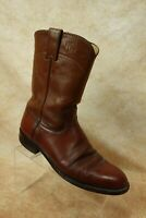 Justin Brown Leather Pull On Western Roper Cowboy Boots Shoes Mens Size 8.5D