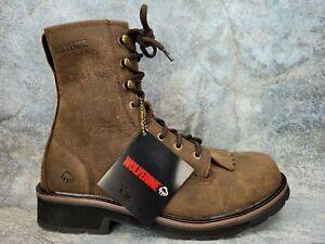 Wolverine Ranchero Soft-Toe 8 Inch Kiltie Work Boot Brown Men Size 9.5 EW Nubuck