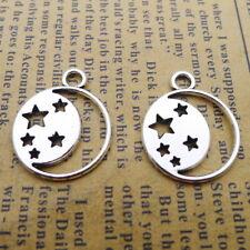 15pcs Charms Hollow Moon Stars Tibetan Silver Beads Pendants DIY 17*21mm