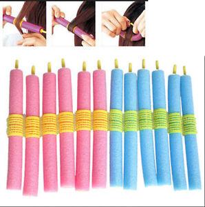 12 pc Women Girl Silk Ribbon Hair Curler Heatless Curling Rod Headband Wave Tool