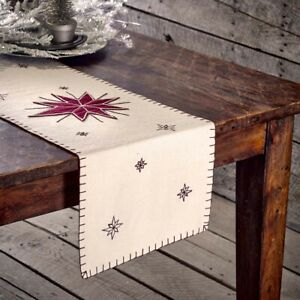 """VHC Brands Farmhouse 36""""x13"""" Snowflake Table Runner White North Holiday Decor"""